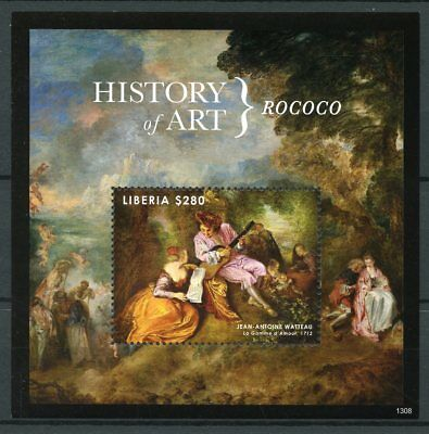 Liberia 2013 MNH History of Art Rococo Jean-Antoine Watteau 1v S/S Stamps
