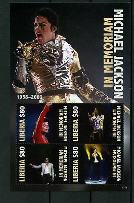 Liberia 2010 MNH Michael Jackson in Memoriam 4v M/S II Pop Music Stamps