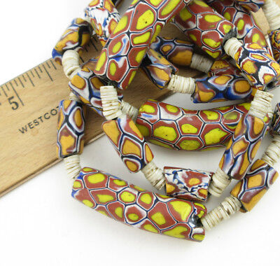 Vintage African Trade Bead Necklace - with curved beads and shells