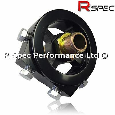 Black Sandwich Plate Adaptor Oil Temp / Pressure Gauge Sensor M20 M18 3/4 Filter