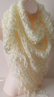 "27-71/"" ORENBURG LACE KNITTED WHITE SHAWL SCARF WRAP 100/% DOWN WOOL PASHMINA s77"