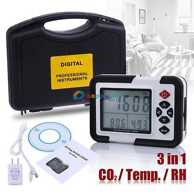 USB CO2 Carbon Dioxide Data Logger Air Temperature Humidity Meter LCD Monitor HL