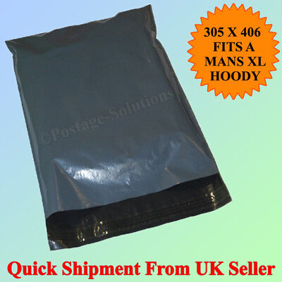 """12"""" x 16"""" STRONG POLY MAILING POSTAGE POSTAL QUALITY SELF SEAL GREY - 25 BAGS"""