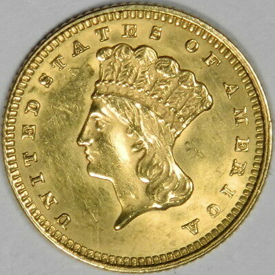1873 Us $1 Princess Gold - Open 3 - Nice Au About Uncirculated - Priced Right!