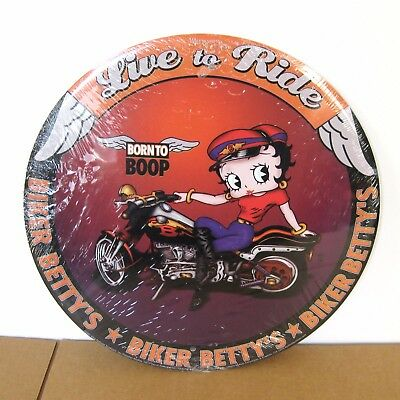 NEW Betty Boop Live To Ride Tin Sign Born To Boop Motorcycle Biker Shop Garage