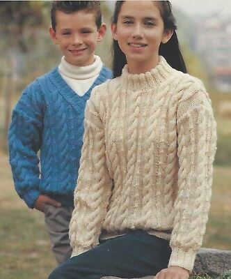 Girls Boys Cable Sweaters Knitting Pattern V And Round Neck Dk 24