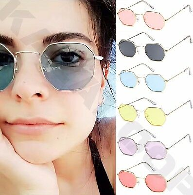 Oval Octagon Shape Sunglasses Metal Frame Retro Glasses