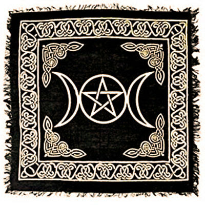 """NEW Triple Moon Altar Cloth 18"""" Gold and Black Metallic Fringed Rayon Pentacle"""