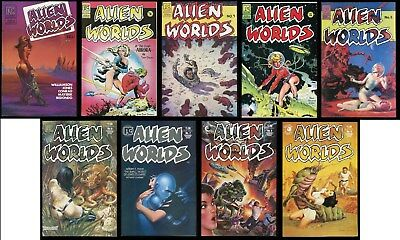 Alien Worlds Pacific Comics Full Set 1-2-3-4-5-6-7-8-9 Lot Science Fiction art