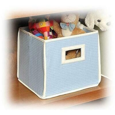 2 Blue Kids Baby Folding Basket Waffle Fabric Covered Storage Cubes NEW