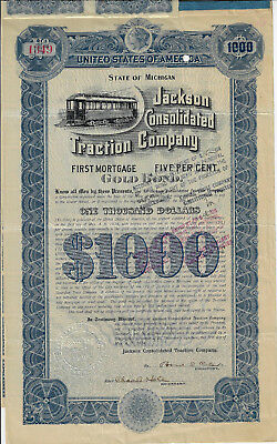 MICHIGAN 1904 Jackson Consolidated Traction Co Bond Stock Certificate