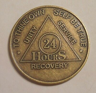 aa alcoholics anonymous bronze 24 hour recovery sobriety coin token medallion