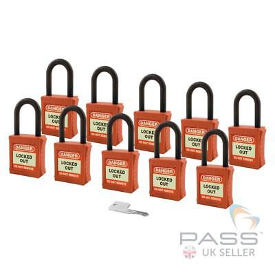 Insulated / Lockout Padlock - NYLON Shackle - Key Alike (Red Pack of 10)