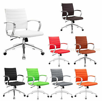 Padded Desk Office Mid Back Chair Rolling Casters Mid-Century Miller - 8 Colors