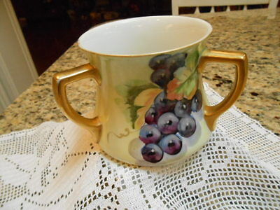 Rare Antique Early Limoges Three Handle Loving Cup Mug Handpainted Grapes Fruit