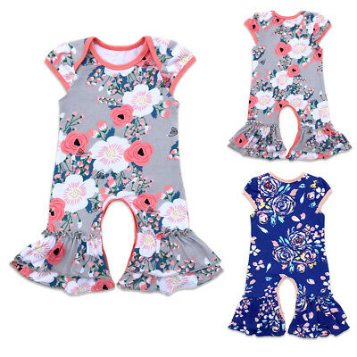 5c8e96f5f916 Newborn Baby Girl Ruffle Romper Jumpsuit Pajama Short Sleeve Xmas Clothes  Outfit