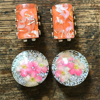 Vintage CONFETTI Lucite Earrings Pair LOT of 2 Clip on MOD glitter 50s Funky FUN