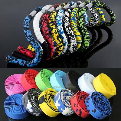 2PCS Cycling Road Bike Sports Bicycle Cork Handlebar Rubber Tape Wrap+2 Bar Plug