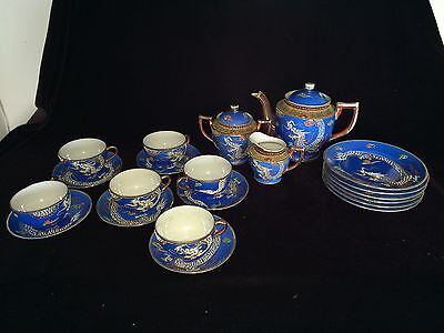 VINTAGE MORIAGE DRAGONWARE SET TEAPOT PLUS 21 PIECES SATSUMA BLUE 1930's - JAPAN