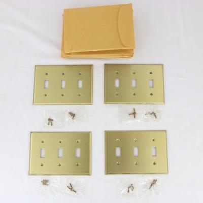 11 VTG Solid Brass 3 Gang Toggle Light Switch Plates Covers NOS Triple