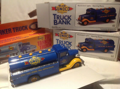 Blue Sunoco Collectible Toy Truck Bank(2) And Tanker-1993,1994-Jmt Replicas-Marx