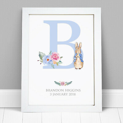 Personalised Peter Rabbit Print New Baby Boy Girl New Born Christening Gifts