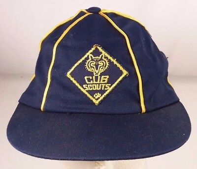 Vintage Youth Cub Scouts America Blue Gold Hat 6 7/8 BSA Patch Cap