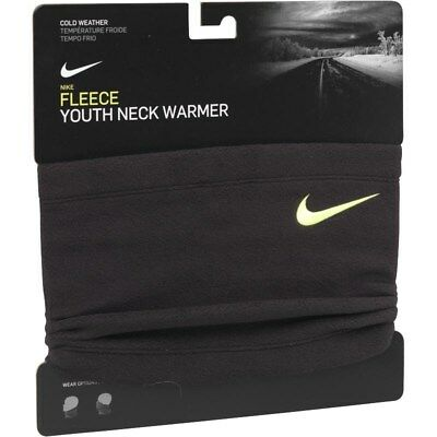 Nike Youth Fleece Neck Warmer Snood Scarf Black Volt Boys Age 8 to 12 Years New