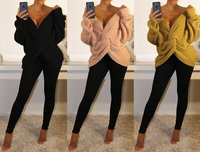 Womens Ladies  V Neck Twisted Wrap Front Knitted Long Sleeve Jumper Top UK 8-14