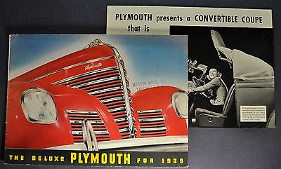 1939 Plymouth 20pg Catalog Brochure + Convertible Sheet Deluxe Nice Original 39