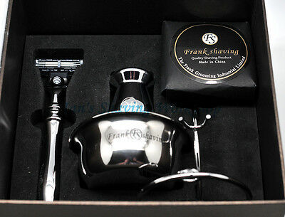 Luxury 5 In 1 Shaving Set/Kit Gift Set Badger Hair Brush,Razor,Bowl,Stand n Soap