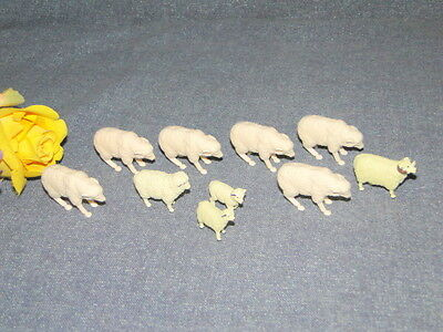Vintage Miniature Farm Animals Crafts Dioramas Or Play Herd Of Sheep Lambs