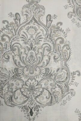 NEW ENVOGUE  Floral Window Curtain Set Panels 50x96 PAIR Medallions Gray Taupe