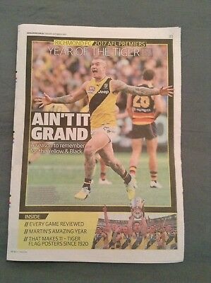 Herald Sun Richmond Premiers 2017 Year Of The Tiger Liftout