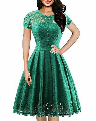 IHOT Women's Retro Floral Lace Vintage Rockabilly Swing Prom Party Bridesmaid...