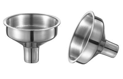 2 x Small Stainless Steel Filling Funnels Hip Flasks Wine Whisky Wide Mouth
