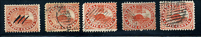 Canada #15 used 1859 5c Beaver x5 from Re-entry/Plate flaw/Study collections