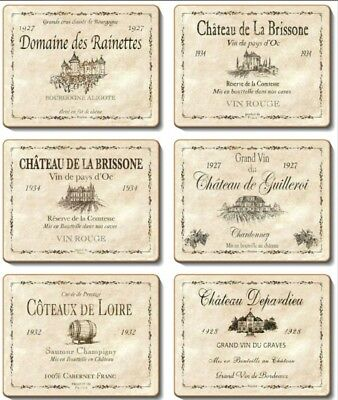 Wine Labels Cinnamon Cork backed Placemats Coasters