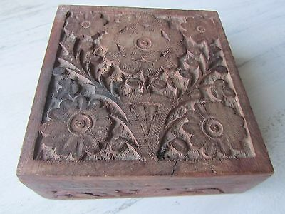 Vintage Hand Carved Ornate Floral Wooden Jewelry Trinket Box Wood brass hinges