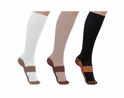 Unisex Copper Infused Compression Socks Graduated S-XXL 20-30mm Men's Women's