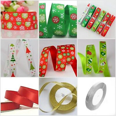 "Christmas Ribbon 2m  3/8"" Finest Selection of Grosgrain Organza & Satin Ribbon"