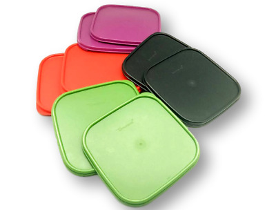 Tupperware Modular Mates Square Seal Lids 2X Cover Red, Green, Black & Purple