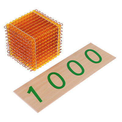 Thousand Beads Cube Suqare w/ 1000 Number Card for Montessori Early Learning
