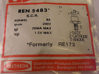 Raytheon Ren 5483 (Nte5483) Silicon Controlled Rectifier, Scr, 8Amp At 200 Volts