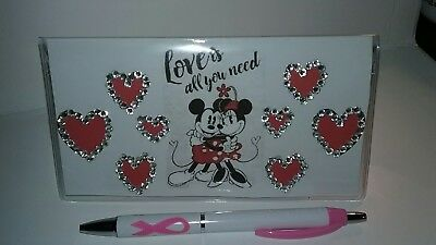 Love is all you Need Minnie Checkbook Cover with Free Pink Awareness Pen