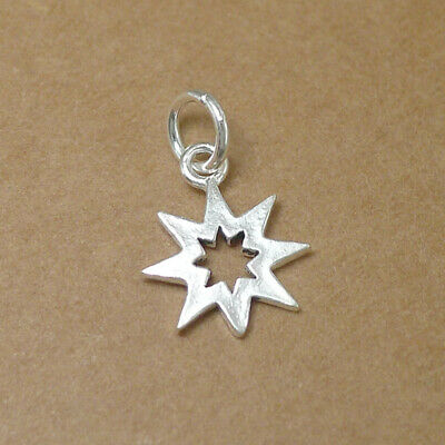 925 Sterling Silver Hollow Six Pointed Star Hex Star of David Charm Pendant