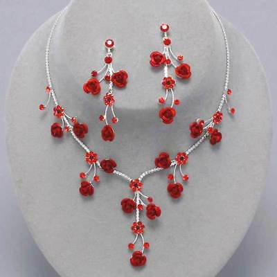 Red rose necklace set crystal diamante jewellery earrings proms bridal 0208
