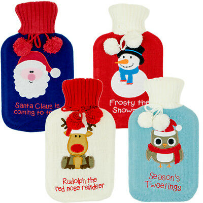 Christmas Hot Water Bottle with Festive Fabric Cover 1.7L Xmas Winter Gift