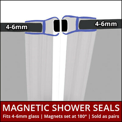 2M Pair Straight Curved Sliding Magnetic Shower Seals Door Enclosure 4-6mm | 010