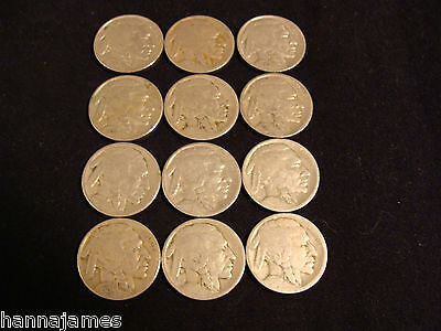 12 Different Date Circulated Buffalo Nickels 1913-1937 Low Cost and Low Shipping